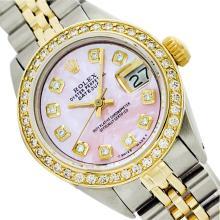 Rolex Men's Two Tone 14K Gold/SS, QuickSet, Diamond Dial, Diam/Ruby Bezel - REF-458W2K
