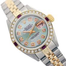 Rolex Ladies Two Tone 14K Gold/SS, Diam Dial & Diam/Ruby Bezel, Saph Crystal - REF-368N7F