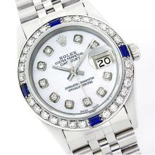 Rolex Ladies Stainless Steel, Diam Dial & Diam/Sapphire Bezel, Saph Crystal - REF-355R6Z
