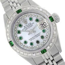 Rolex Ladies Stainless Steel, Diam/Emerald Dial & Diam/Emerald Bezel, Saph Crystal - REF-363Z3Y