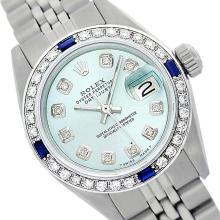Rolex Ladies Stainless Steel, Diam Dial & Diam/Sapphire Bezel, Saph Crystal - REF-355A6N