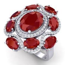 9.86 CTW Royalty Designer Ruby & VS Diamond Ring 18K Gold - REF#-218X2T-39294