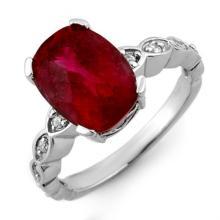 4.25 ctw Rubellite & Diamond Ring 10K White Gold - REF#-74K2W-10305
