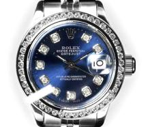 Rolex Men's Stainless Steel, QuickSet, Diamond Dial & Diamond Bezel - REF-441H8W