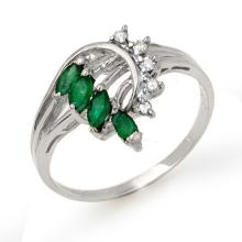 0.55 ctw Emerald & Diamond Ring 18K White Gold - REF#-36A2X-13022