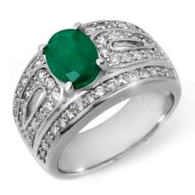 2.44 ctw Emerald & Diamond Ring 14K White Gold - REF#-115G8N-11823