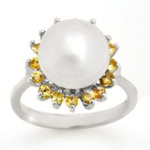 0.75 ctw Yellow Sapphire & Pearl Ring 18K White Gold - REF#-51V6Y-10531
