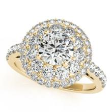 1.5 CTW Certified VS/SI Diamond Bridal Solitaire Halo Ring 18K Yellow Gold - REF#-190M7F-26493