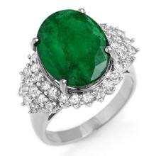 7.56 ctw Emerald & Diamond Ring 18K White Gold - REF#-162H9M-12904