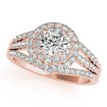 1.25 CTW Certified VS/SI Diamond Bridal Solitaire Halo Ring 18K Rose Gold Gold - REF#-174W5G-26576