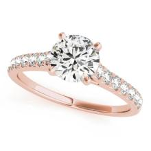 1.23 CTW Certified VS/SI Diamond Solitaire Bridal  Ring 18K Rose Gold Gold - REF#-204Y9M-27589