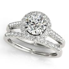 1.30 CTW Certified VS/SI Diamond 2pc Wedding Set Solitaire Halo 14K Gold - REF#-220G5N-30786