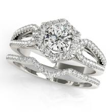 1.35 CTW Certified VS/SI Diamond 2pc Wedding Set Solitaire Halo 14K Gold - REF#-217F5V-31151