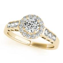 1.55 CTW Certified VS/SI Diamond Bridal Solitaire Halo Ring 18K Yellow Gold - REF#-394V2Y-26981