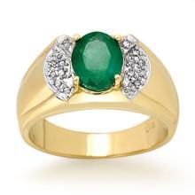 2.15 ctw Emerald & Diamond Men's Ring 10K Yellow Gold - REF#-49G3N-13476
