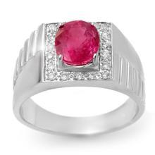 3.25 ctw Pink Sapphire & Diamond Men's Ring 10K White Gold - REF#-62G9N-13420