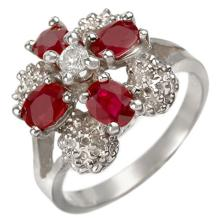 1.58 CTW Ruby & Diamond Ring 10K White Gold - REF-30Y2K - 10843