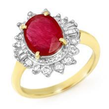 4.50 CTW Ruby & Diamond Ring 14K Yellow Gold - REF-100W2F - 13222