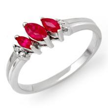 0.29 CTW Ruby & Diamond Ring 18K White Gold - REF-28M4H - 13523