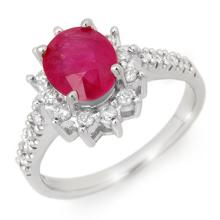 3.05 CTW Ruby & Diamond Ring 18K White Gold - REF-84H4A - 13938