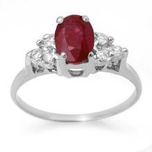 1.35 CTW Ruby & Diamond Ring 18K White Gold - REF-41F8N - 13627