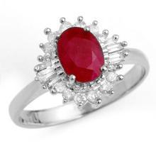 1.55 CTW Ruby & Diamond Ring 18K White Gold - REF-47A8X - 13206