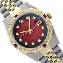 Rolex Men's Two Tone 14K Gold/SS, QuickSet, Diam Dial & Diam/Ruby Bezel - REF-474R5Z