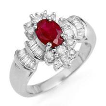 1.78 ctw Ruby & Diamond Ring 18K White Gold - REF#-91F3V-12836