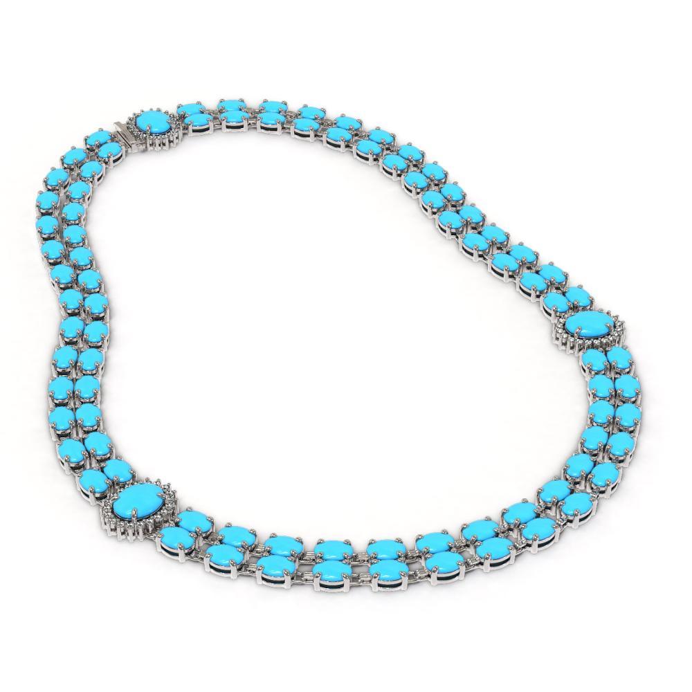 ctw turquoise diamond necklace 14k white gold ref. Black Bedroom Furniture Sets. Home Design Ideas
