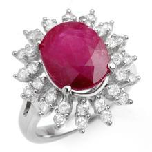 7.21 ctw Ruby & Diamond Ring 18K White Gold - REF#-155F8V-13211