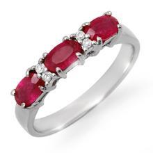 1.09 ctw Ruby & Diamond Ring 18K White Gold - REF#-38G2N-12367
