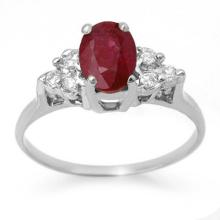 1.35 ctw Ruby & Diamond Ring 18K White Gold - REF#-41K8W-13627