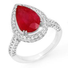 6.25 ctw Ruby & Diamond Ring 18K White Gold - REF#-134A4X-10693