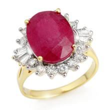 7.04 ctw Ruby & Diamond Ring 14K Yellow Gold - REF#-96N4A-12863