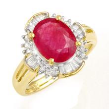 3.83 CTW Ruby & Diamond Ring 14K Yellow Gold - REF-82K5R - 13307