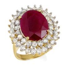 9.83 CTW Ruby & Diamond Ring 14K Yellow Gold - REF-261W8H - 12984