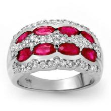2.50 CTW Ruby & Diamond Ring 14K White Gold - REF-105M5F - 14146