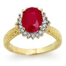2.75 CTW Ruby & Diamond Ring 10K Yellow Gold - REF-49Y3X - 12327