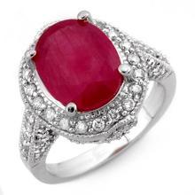 6.0 CTW Ruby & Diamond Ring 14K White Gold - REF-100R9K - 11524