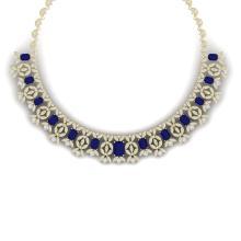 50.44 CTW Royalty Sapphire & VS Diamond Necklace 18K Gold - REF-1654H5W - 39383