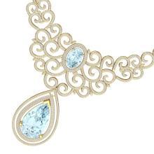 89.32 CTW Royalty Sky Topaz & VS Diamond Necklace 18K Gold - REF-1563A6N - 39847