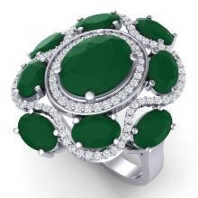9.86 CTW Royalty Designer Emerald & VS Diamond Ring 18K Gold - REF-218Y2X - 39291