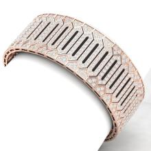 23 CTW Certified VS/SI Diamond Men's Bracelet 18K Rose Gold - REF-1281A8N - 40056