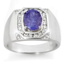 3.10 ctw Tanzanite & Diamond Men's Ring 14K White Gold - REF#-119M5F-14465