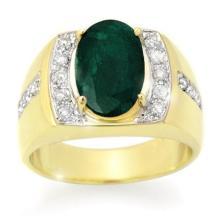 4.58 ctw Emerald & Diamond Men's Ring 10K Yellow Gold - REF#-73V8Y-14486