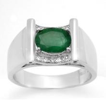 1.83 ctw Emerald & Diamond Men's Ring 10K White Gold - REF#-46F2V-14493