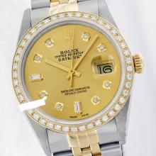 Rolex Ladies 2Tone 14K Gold/ Stainless Steel, Diamond Dial & Diamond Bezel, Saph Crystal - REF#327H3T