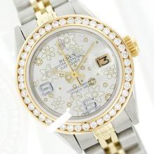 Rolex Ladies 2Tone 14K Gold/ Stainless Steel, Arabic Dial Diamond Bezel, Saph Crystal - REF#343R6X