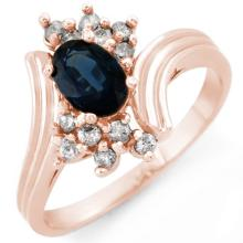 1.0 ctw Blue Sapphire & Diamond Ring 14K Rose Gold - REF#-34Y9M-10436