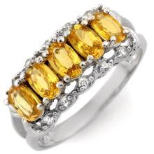 1.80 ctw Yellow Sapphire & Diamond Ring 10K White Gold - REF#-28Y4M-10491